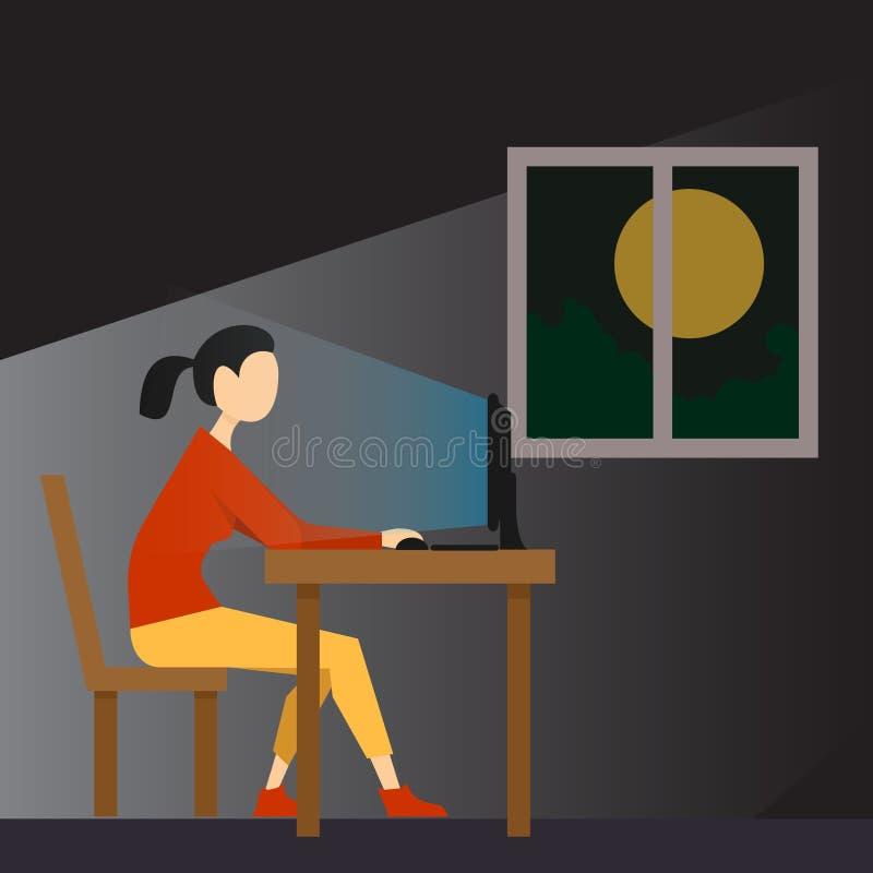 Работайте дополнительное время поздно в ночу иллюстрация вектора
