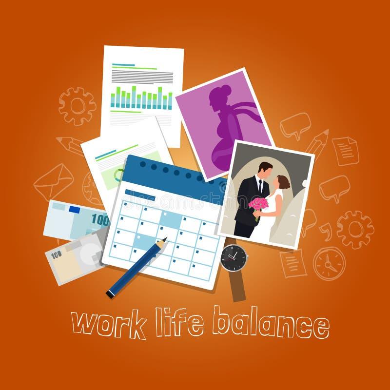 Работайте концепция баланса жизни балансируя времени людей и приоритеты между семьей денег иллюстрация штока