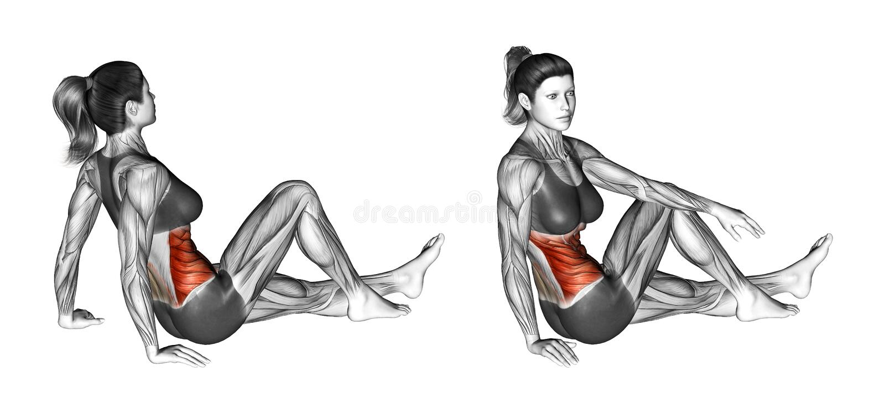 Работать фитнеса Простирание танцора женщина иллюстрация штока
