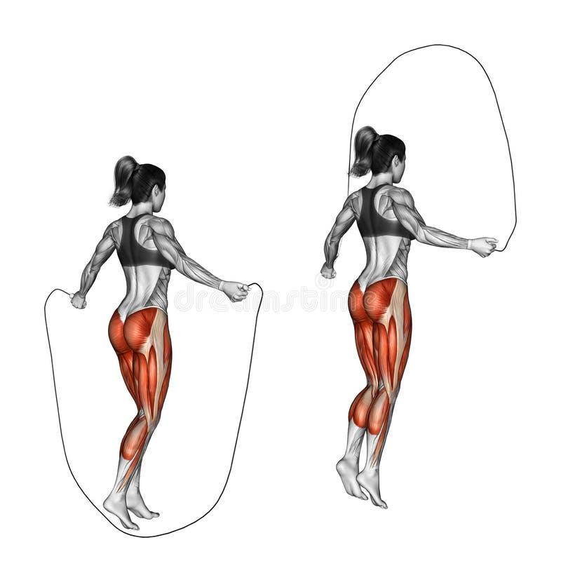 Работать фитнеса Скача веревочка женщина бесплатная иллюстрация