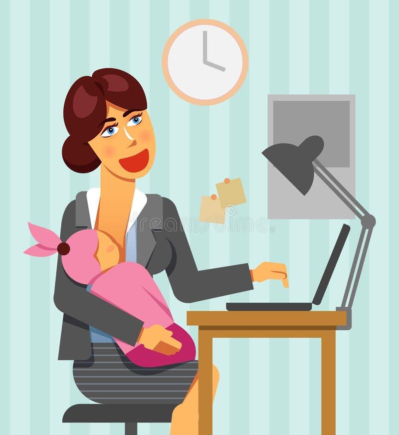 Работающая мать кормить ребенк в офисе на рабочем месте Изображение работы и вектора баланса жизни иллюстрация штока