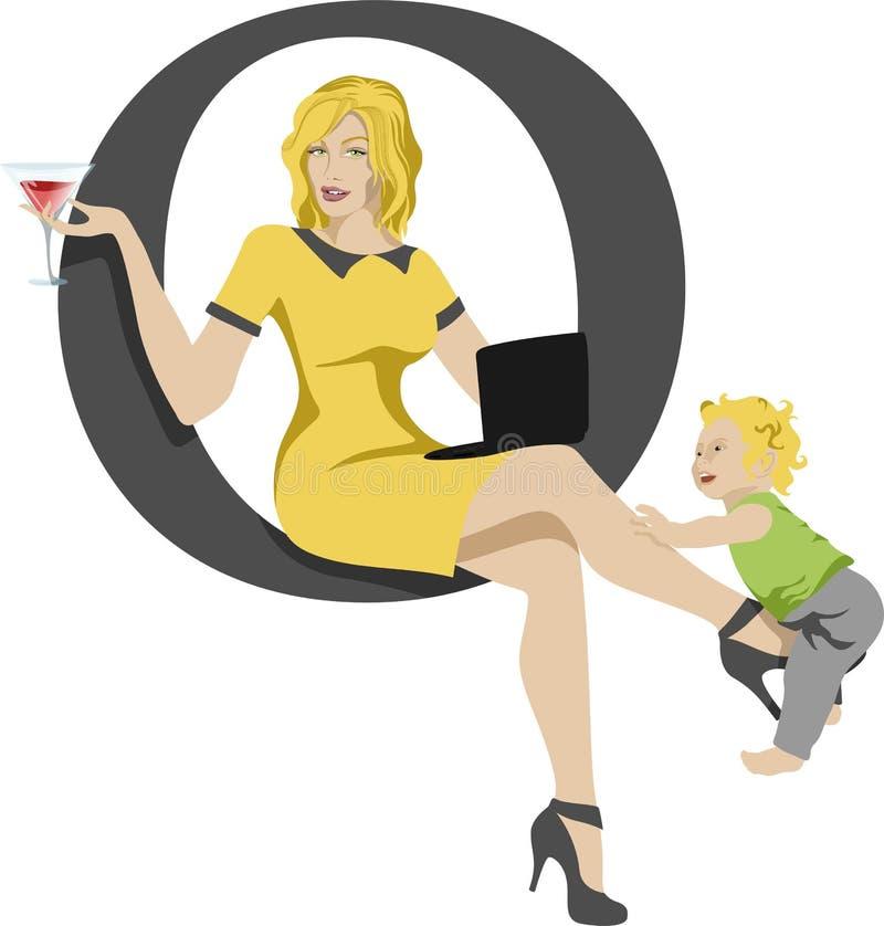 Работающая мать с младенцем и ноутбуком стоковые изображения