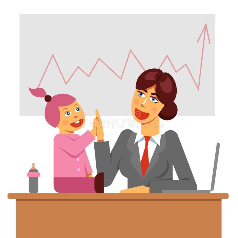Работающая мать с ребенк в офисе на рабочем месте имея успех Изображение работы и вектора баланса жизни иллюстрация вектора