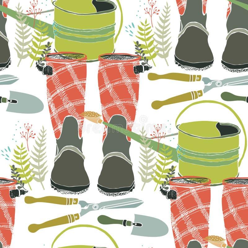 Работающ в саде, цветках, лейках и ботинках дождя иллюстрация штока