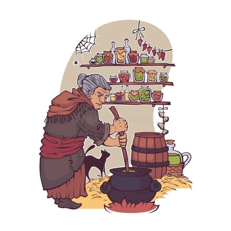 Работая ведьма, пожилая женщина делая волшебное зелье, для вашего Hallowe иллюстрация вектора