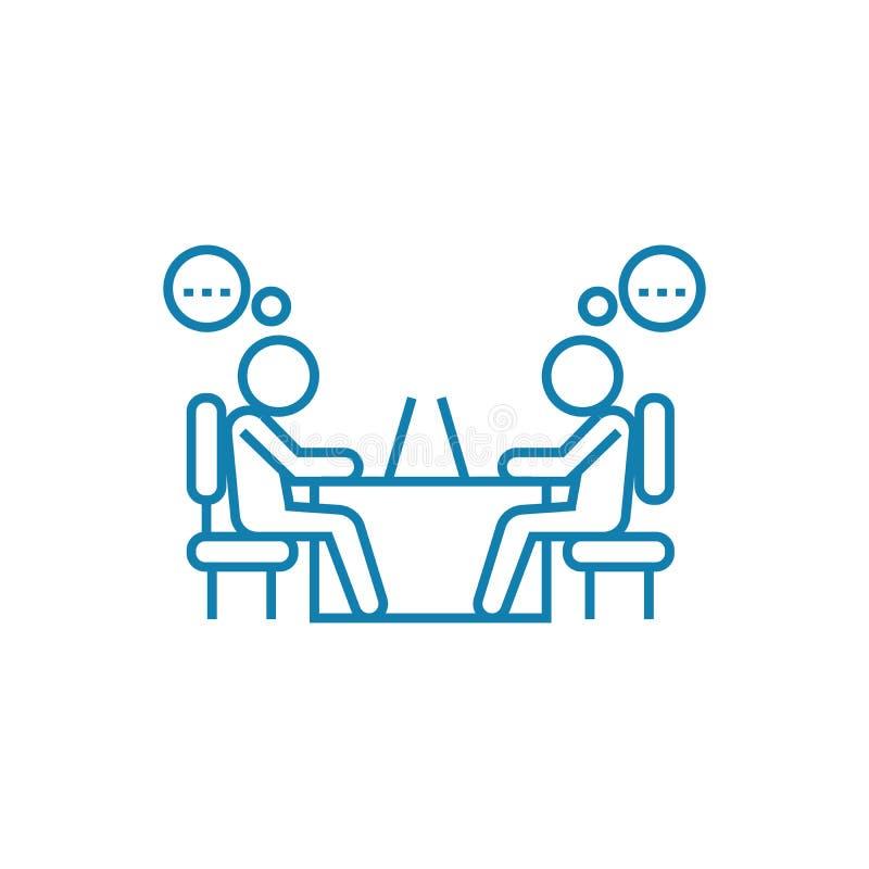 Работая концепция значка обсуждения линейная Работая обсуждение выравнивает знак вектора, символ, иллюстрацию бесплатная иллюстрация