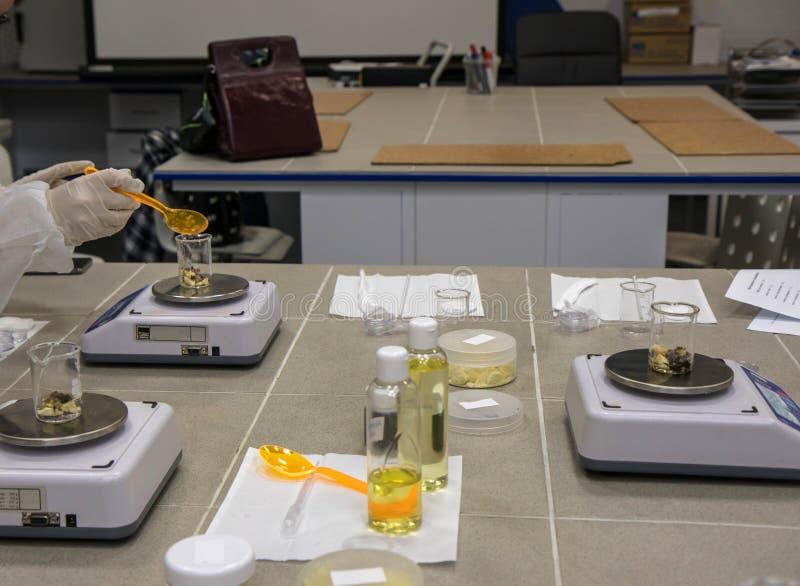 Работая процесс в лаборатории нанотехнологии косметической продукции Смешивая компоненты стоковые изображения rf
