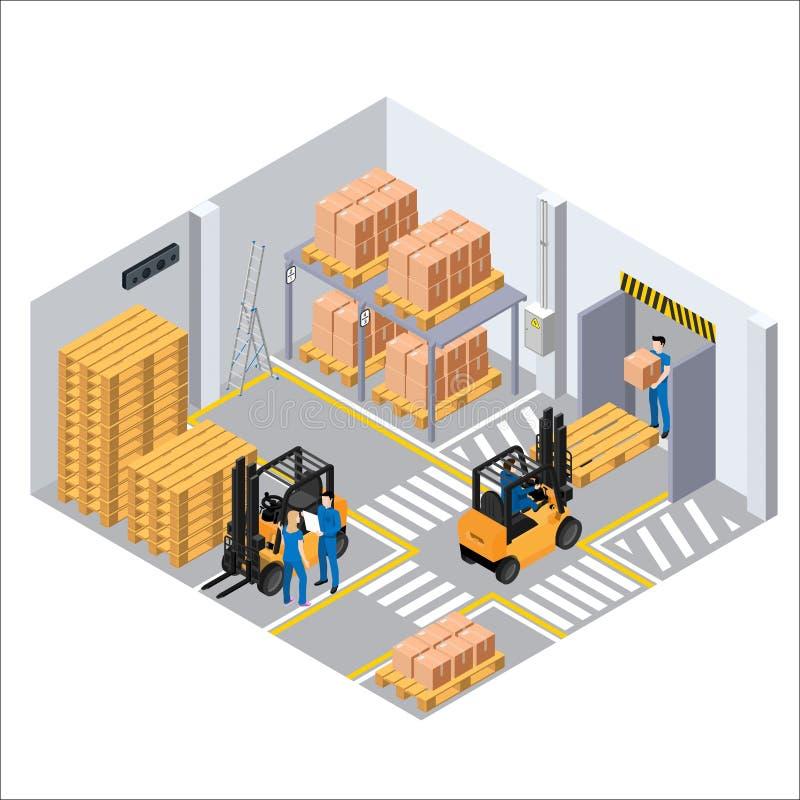 Работая процесс в складе, затяжелителях и паллетах с коробками иллюстрация вектора