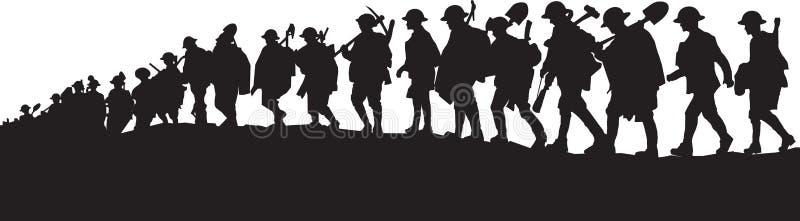 Работая солдаты WW1 иллюстрация штока