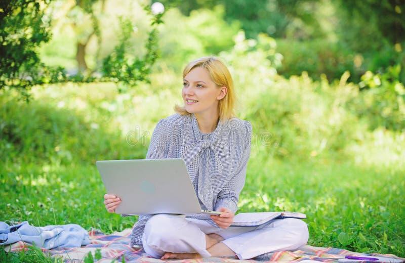 Работа дамы дела независимая outdoors Стали успешный фрилансер Женщина с ноутбуком сидит на луге травы половика Онлайн стоковая фотография