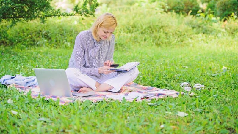 Работа дамы дела независимая outdoors Стали успешный фрилансер Женщина с ноутбуком сидит на луге травы половика E стоковая фотография