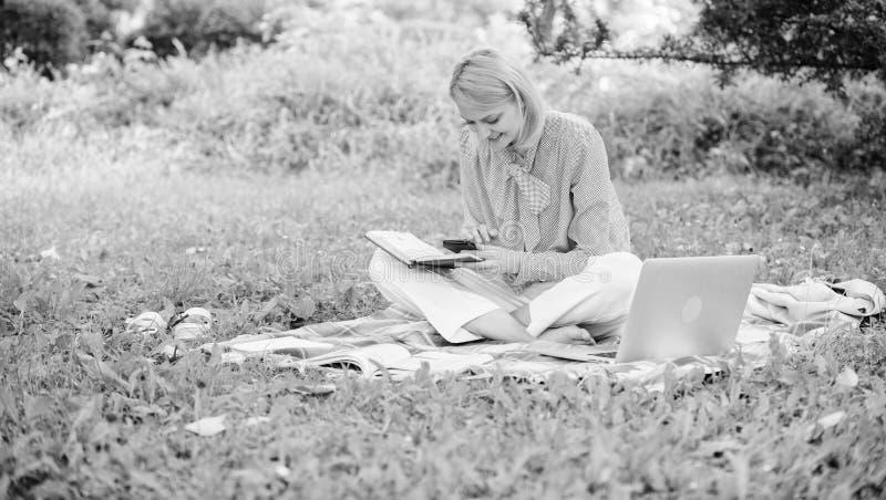 Работа дамы дела независимая outdoors r Женщина с ноутбуком сидит на луге травы половика E стоковое фото