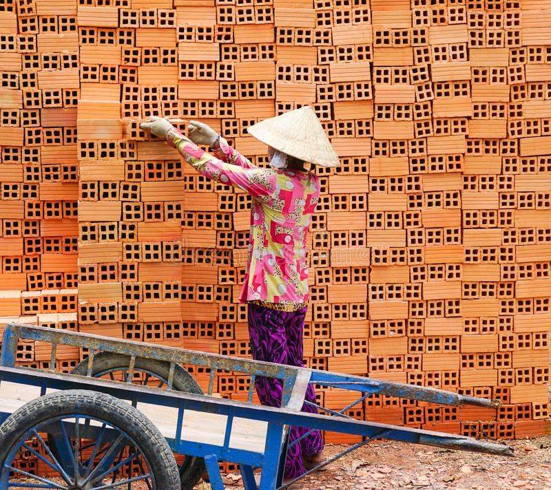 Работа женщин в кирпичные кладки стоковые изображения rf