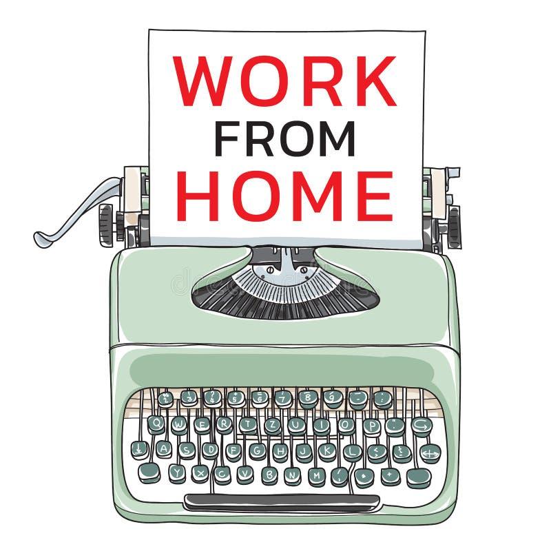 работа из дома для футболки mint green vintage typewriter портативный ретро с карманной векторной иллюстрацией иллюстрация штока