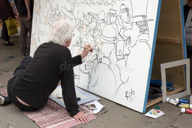 работа каррикатуриста стоковое изображение
