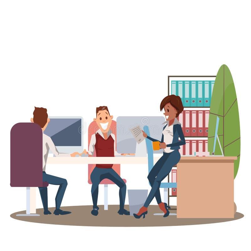 Работа команды в рабочем месте офиса Счастливый сотрудник бесплатная иллюстрация
