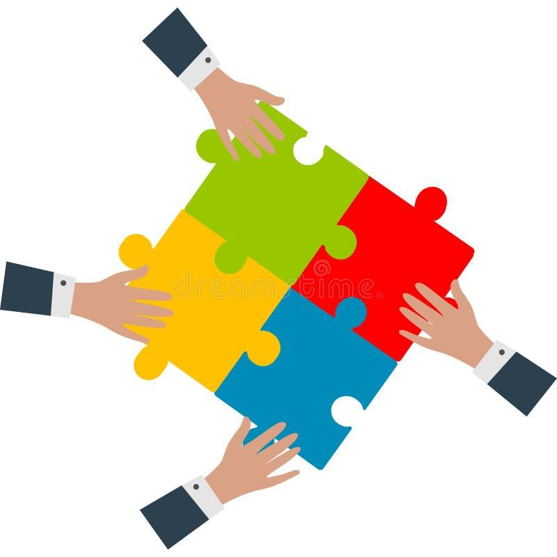 работа команды кукол принципиальной схемы предпосылки черная цветастая Руки собирая вектор головоломок иллюстрация штока