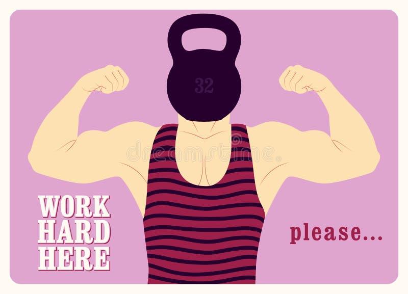 Работа крепко здесь Дизайн плаката ретро спортзала типографский винтажный с сильным человеком r иллюстрация вектора