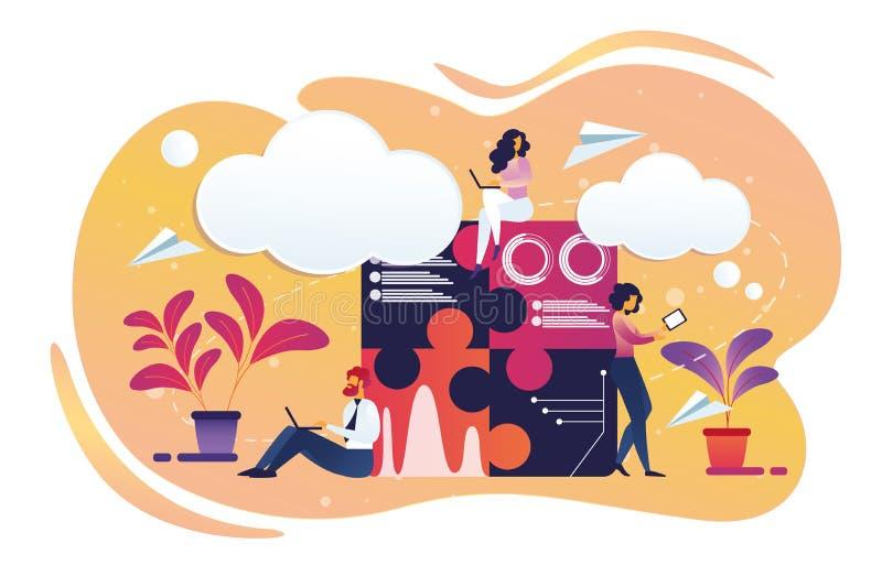 Работа мужчины предпринимателей и женских характеров иллюстрация вектора