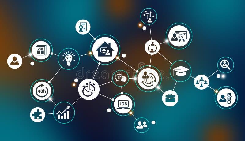 Работа 4 0 - новые возможности для компаний и работников в изменяя рынке труда иллюстрация штока
