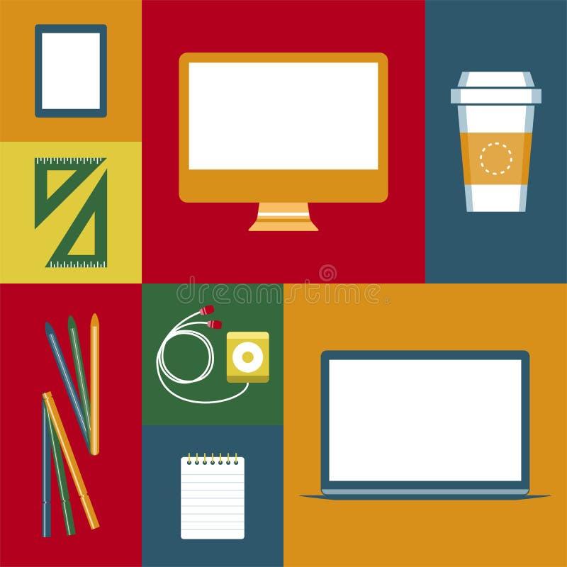Работа объектов дизайнерская иллюстрация вектора
