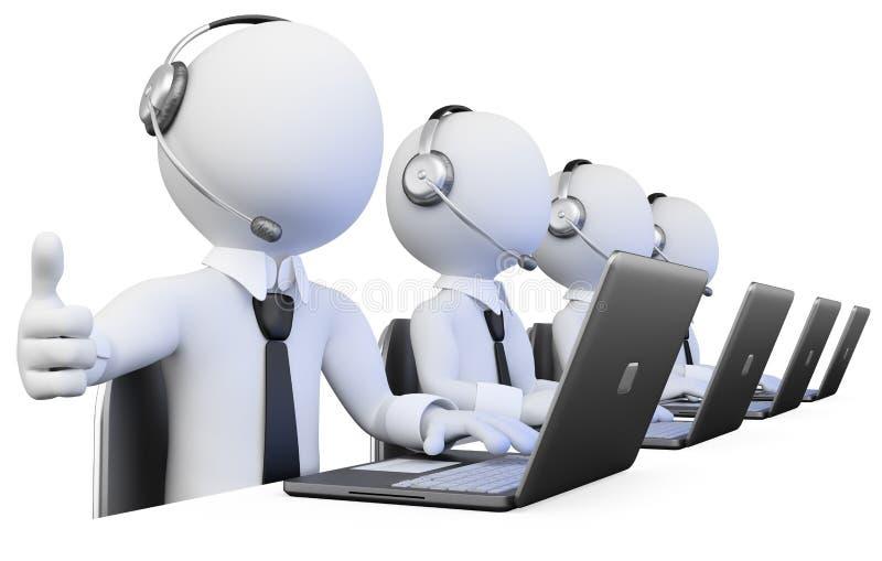 работа операторов центра телефонного обслуживания 3d иллюстрация вектора