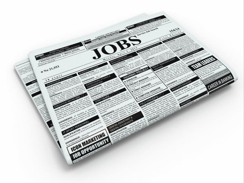 Работа поиска. Газета с рекламами. иллюстрация вектора