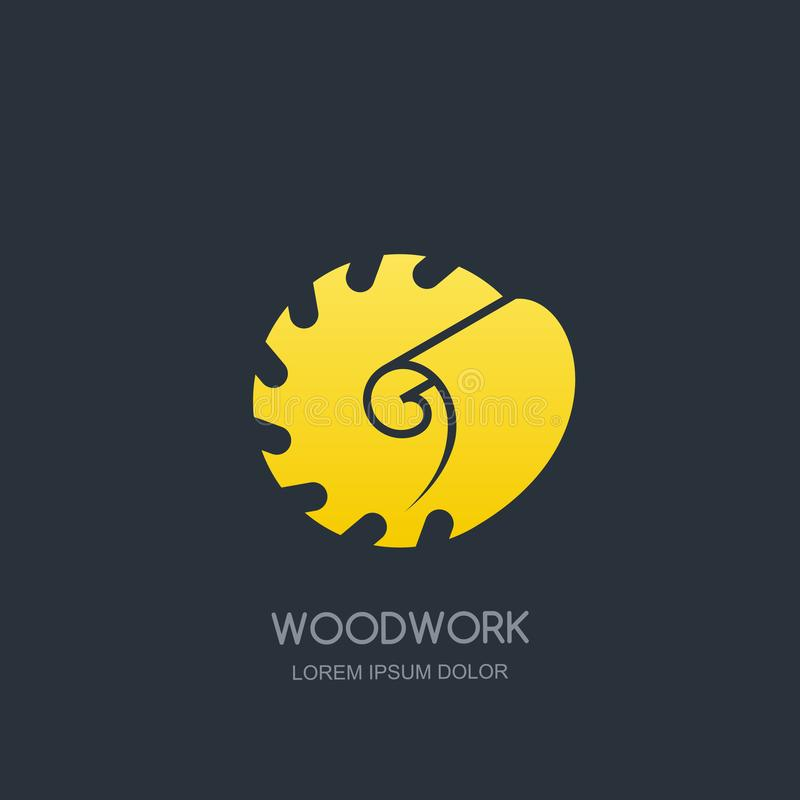 Работа по дереву и концепция эмблемы логотипа плотничества Круглая пила и древесина брея, дизайн значка ярлыка вектора бесплатная иллюстрация