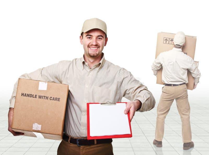работа работника доставляющего покупки на дом стоковые изображения