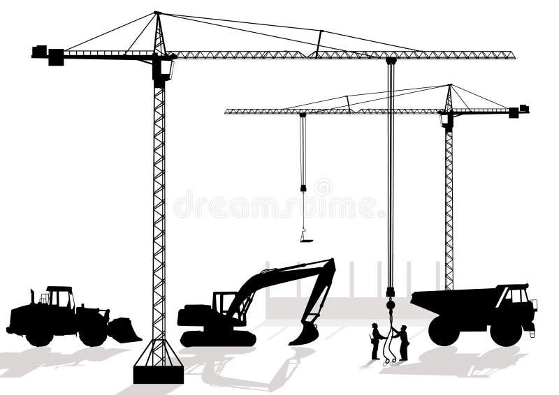 работа строительной площадки иллюстрация вектора