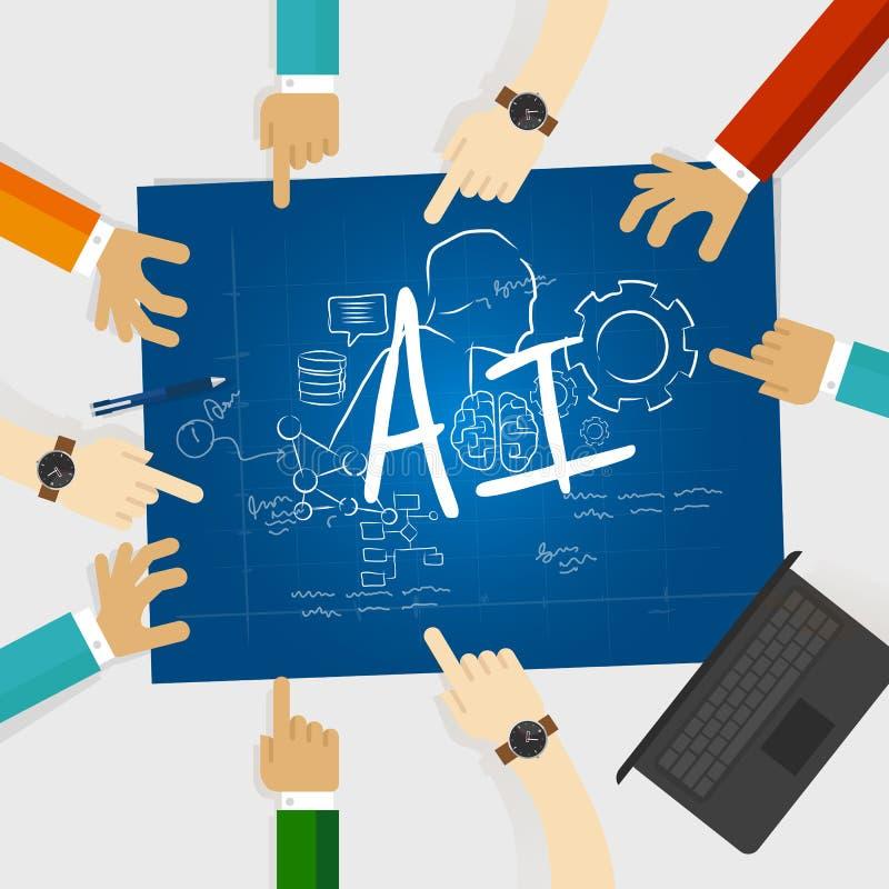 Работа университета исследования исследования образования компьутерных наук искусственного интеллекта AI совместно объединяется в иллюстрация вектора