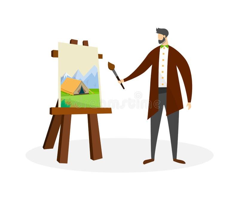 Работа художника человека с красками масла Рисуя процесс бесплатная иллюстрация