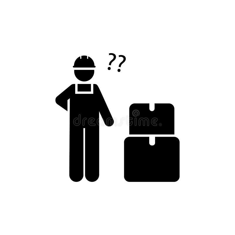 Работа, человек, коробки, продукция, значок работника r r r иллюстрация вектора