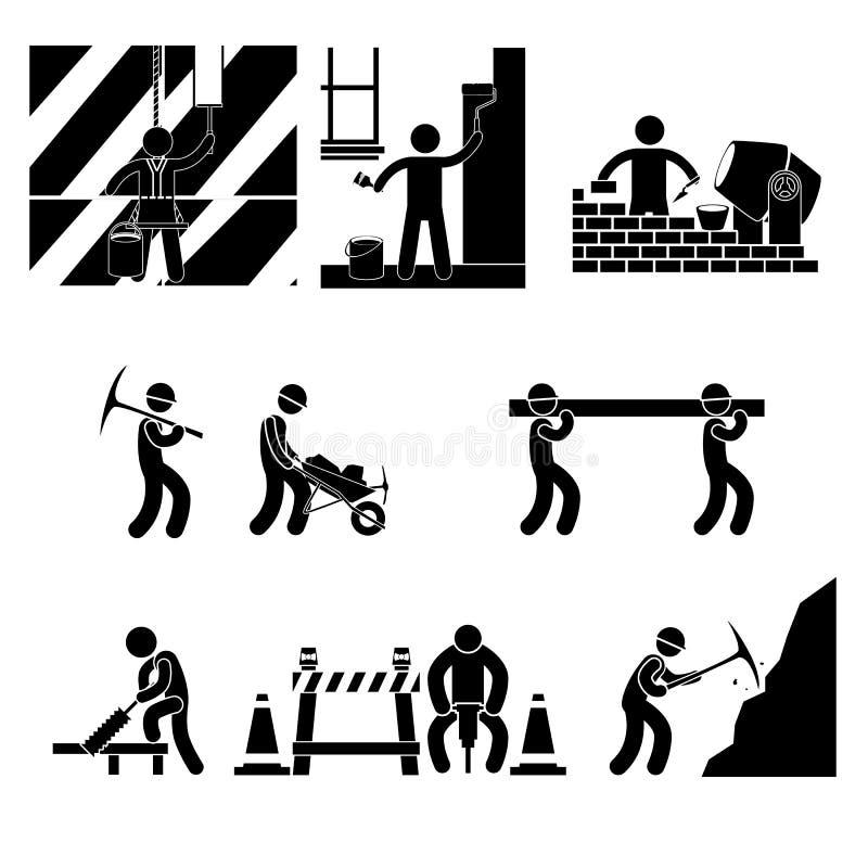 Работа человека значка значок работы над белой предпосылкой стоковые фото