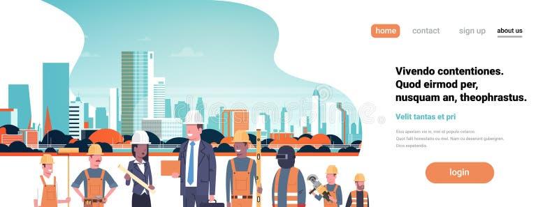 Работники архитектора построителя смешивают квартиру предпосылки городского пейзажа здания города шлема здания женщины бизнесмена иллюстрация штока