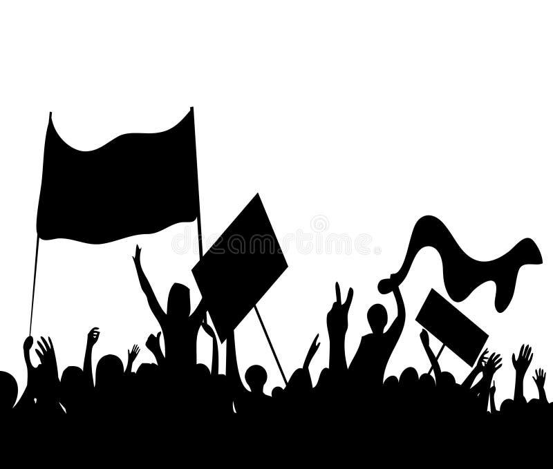 Работники бунтов протестующих на забастовке   бесплатная иллюстрация