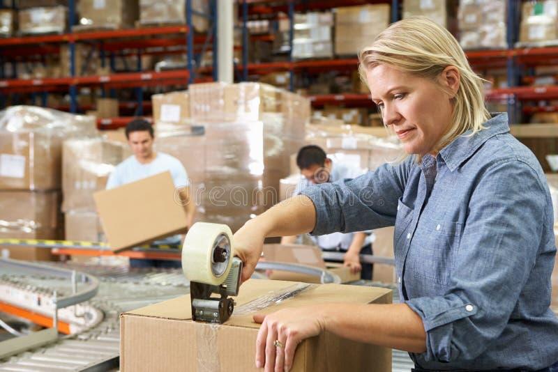Работники в пакгаузе распределения стоковые изображения