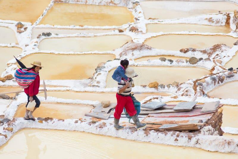 Работники в тазах соли на перуанских Андах стоковые фото