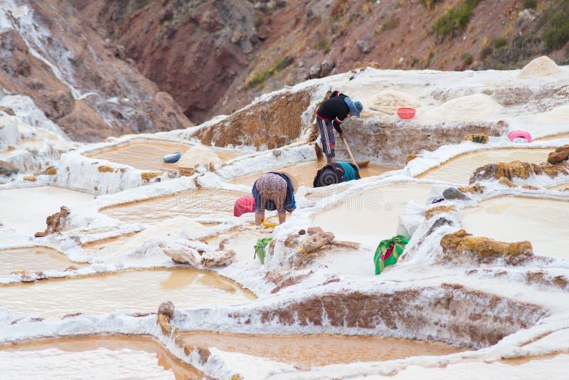 Работники в тазах соли на перуанских Андах стоковое изображение rf