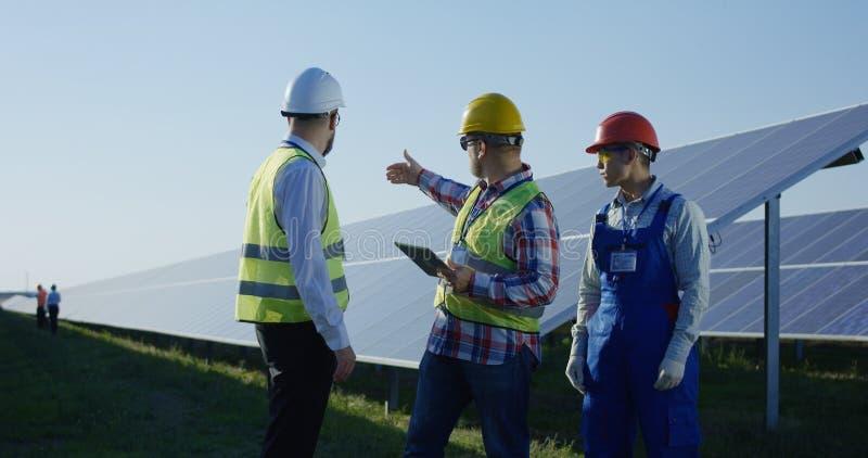 Работники говоря между длинными строками панелей солнечных батарей стоковые изображения