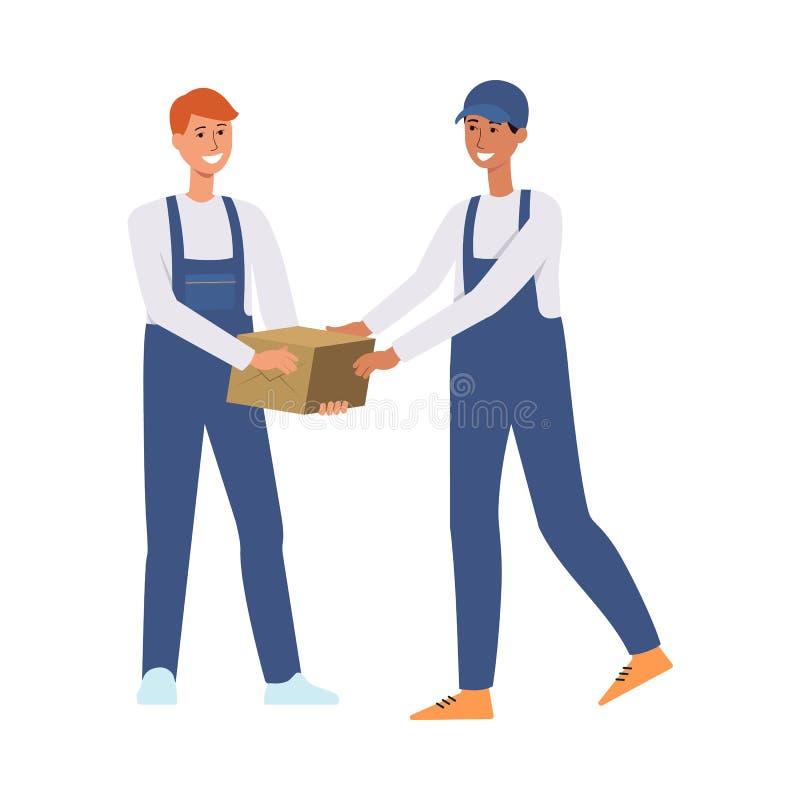 Работники доставляющие покупки на дом или курьеры проходя иллюстрацию вектора коробки изолированную на белизне иллюстрация штока