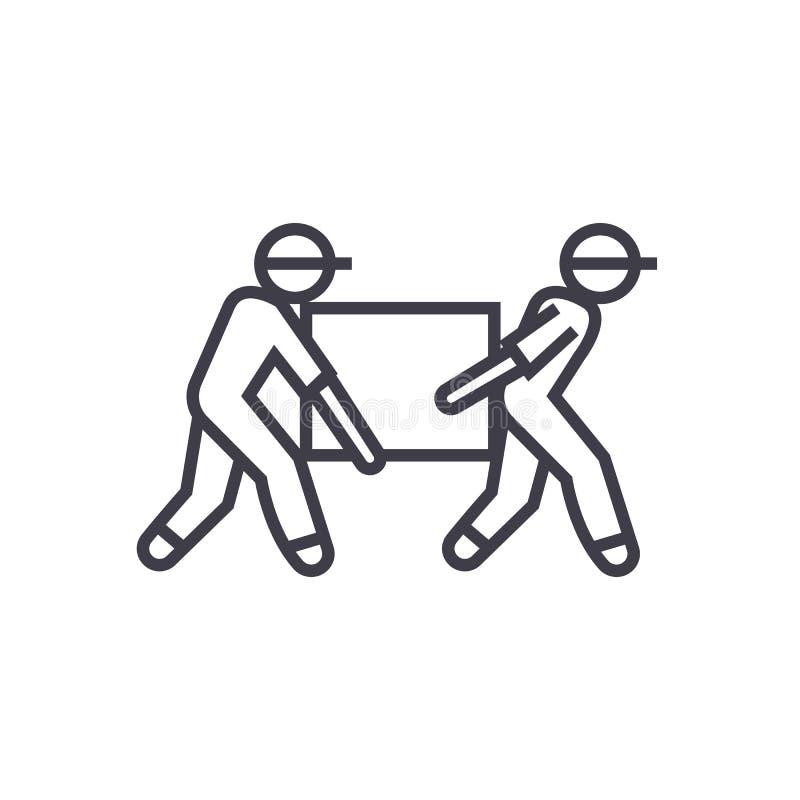 Работники доставляющие покупки на дом, коробка принимая линию значок вектора, знак, иллюстрацию на предпосылке, editable ходах иллюстрация вектора