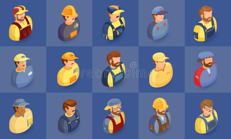 Работники и символы строений изолированные на сини Равновеликая проекция иллюстрация штока