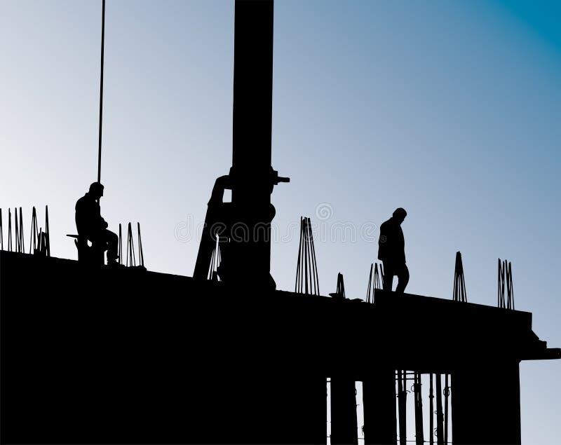 работники места крана конструкции иллюстрация вектора