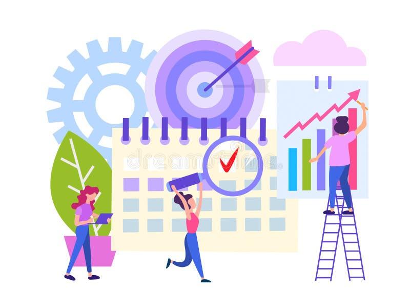 Работники офиса в процессе крайнего срока, сыгранности, даты календаря как цель потока операций, концепции успешного дела иллюстрация штока