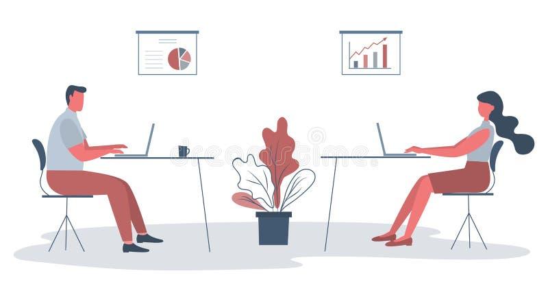 Работники офиса в рабочем месте Икона дела иллюстрация штока