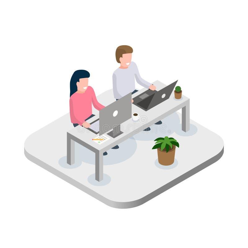 Работники офиса на концепции места работы Концепция Coworking Плоская равновеликая иллюстрация вектора иллюстрация штока