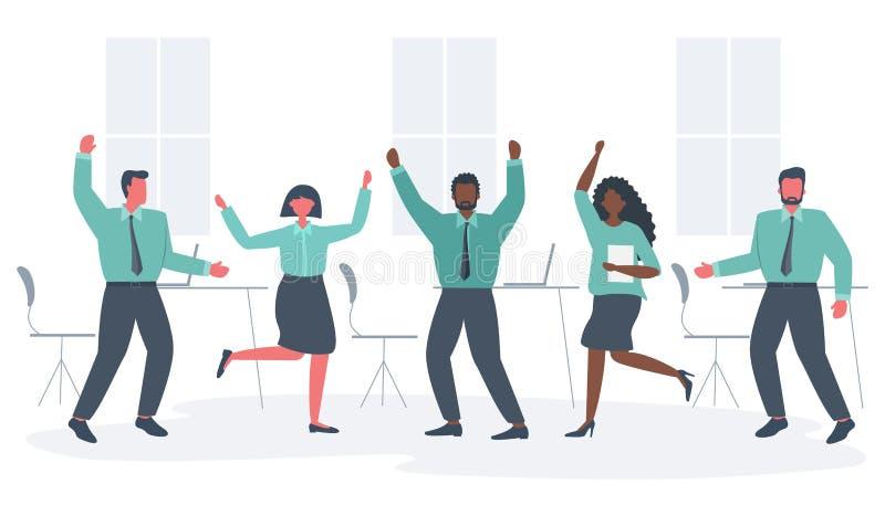 Работники офиса празднуют победу Счастливые работники танцуют и скачут иллюстрация штока