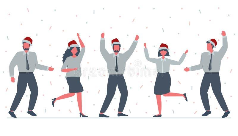 Работники офиса празднуют рождество Счастливые работники в шляпах Санта танцуют иллюстрация штока