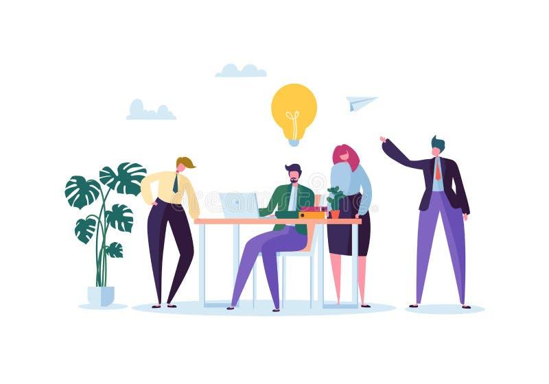 Работники офиса работая с компьютерами Плоские бизнесмены характеров с компьтер-книжкой Концепция организации работы команды иллюстрация вектора